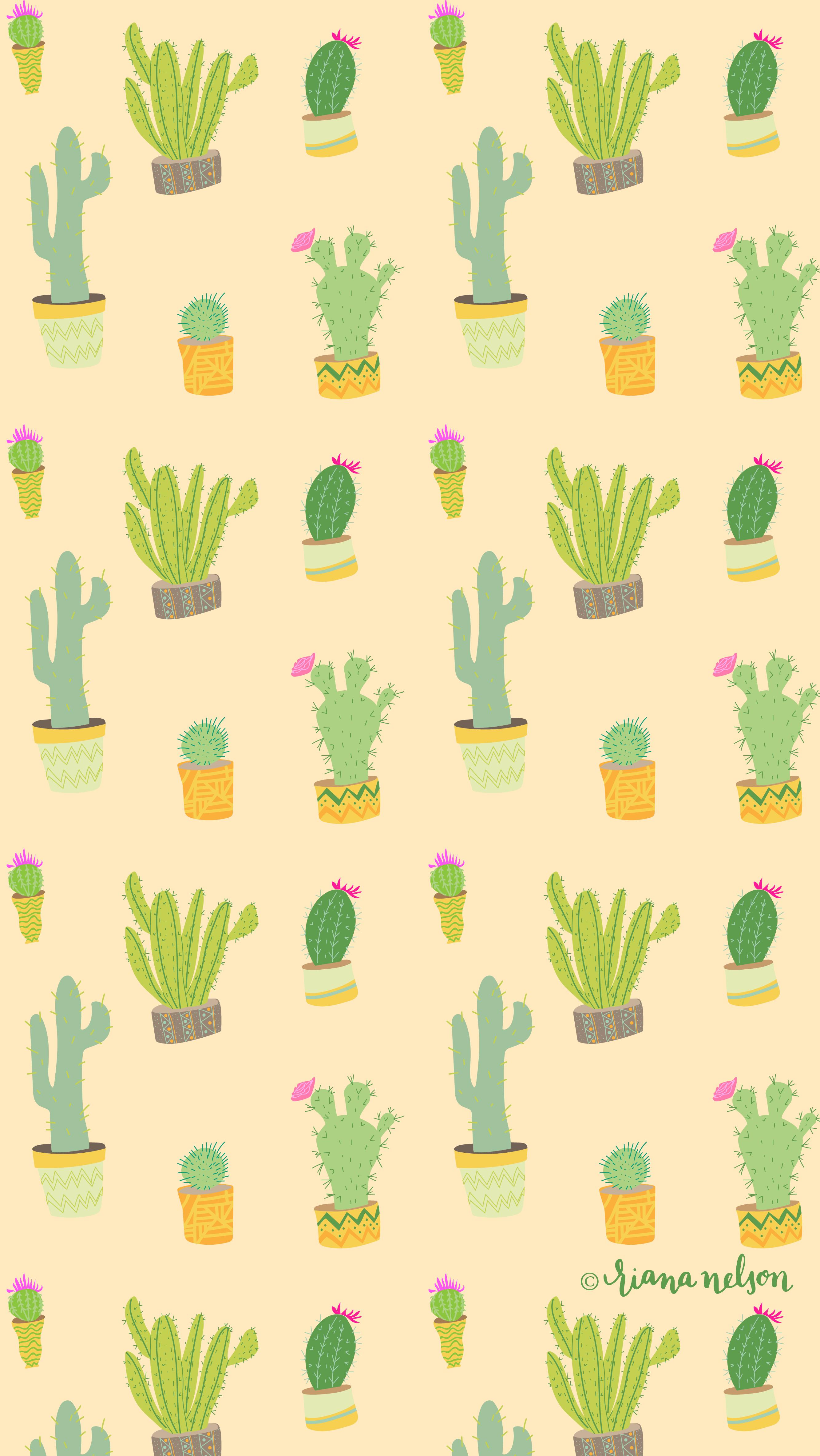 Cacti Party Wallpaper Riana Nelson