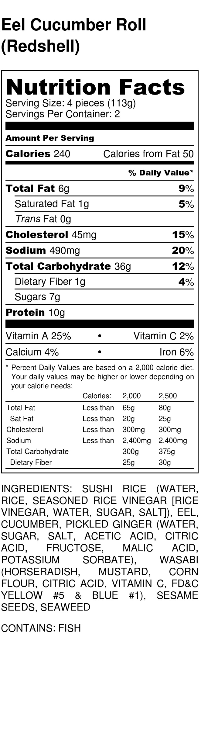 Whole Foods Salmon Avocado Roll Nutrition