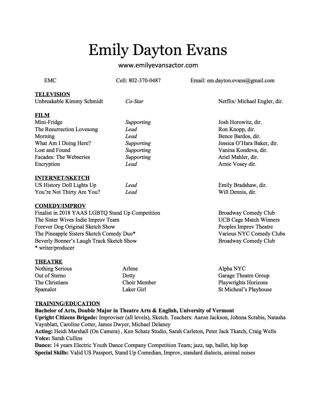 Acting Emily Dayton Evans