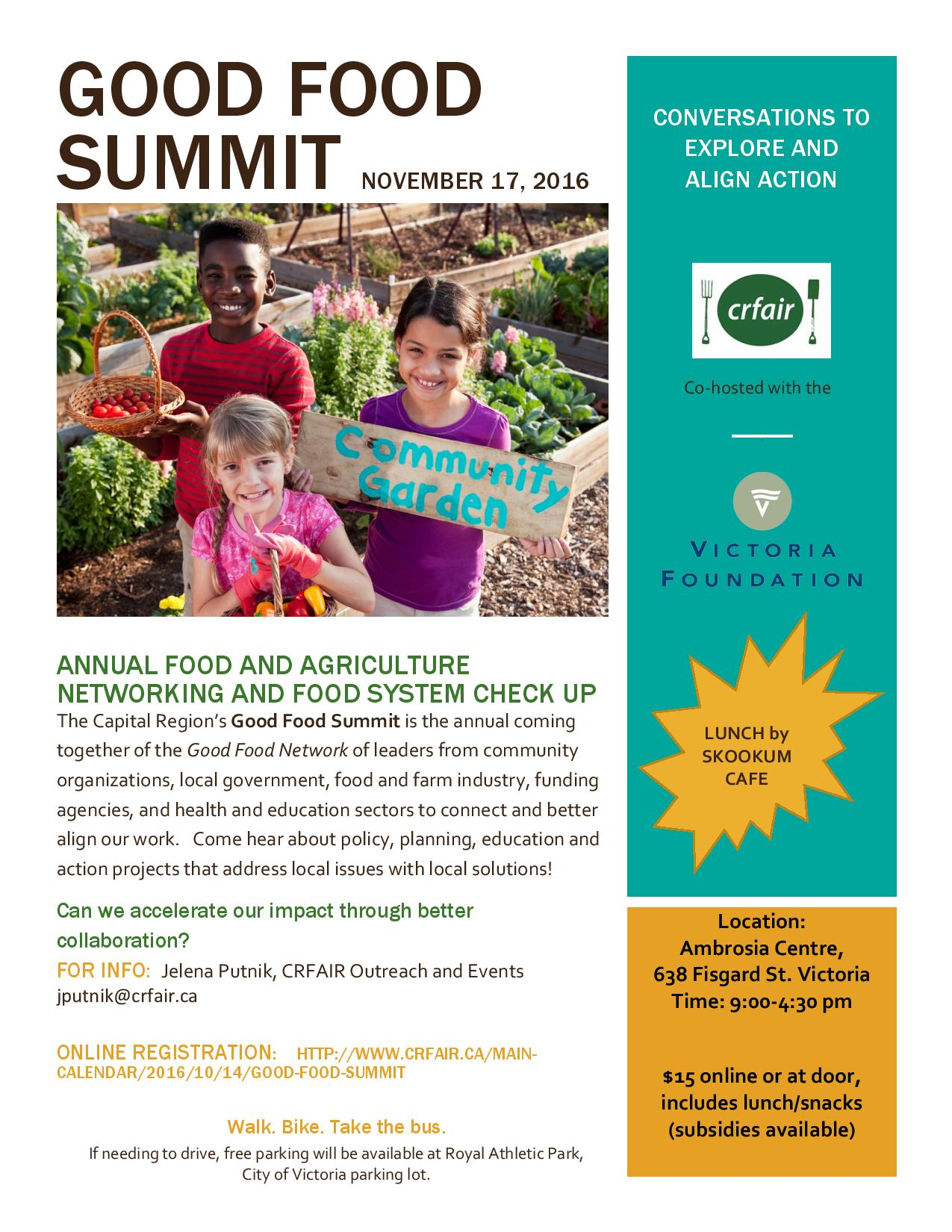 The Capital Regions Good Food Summit Is Annual Coming Together Of Network Leaders From Community Organizations Local Government