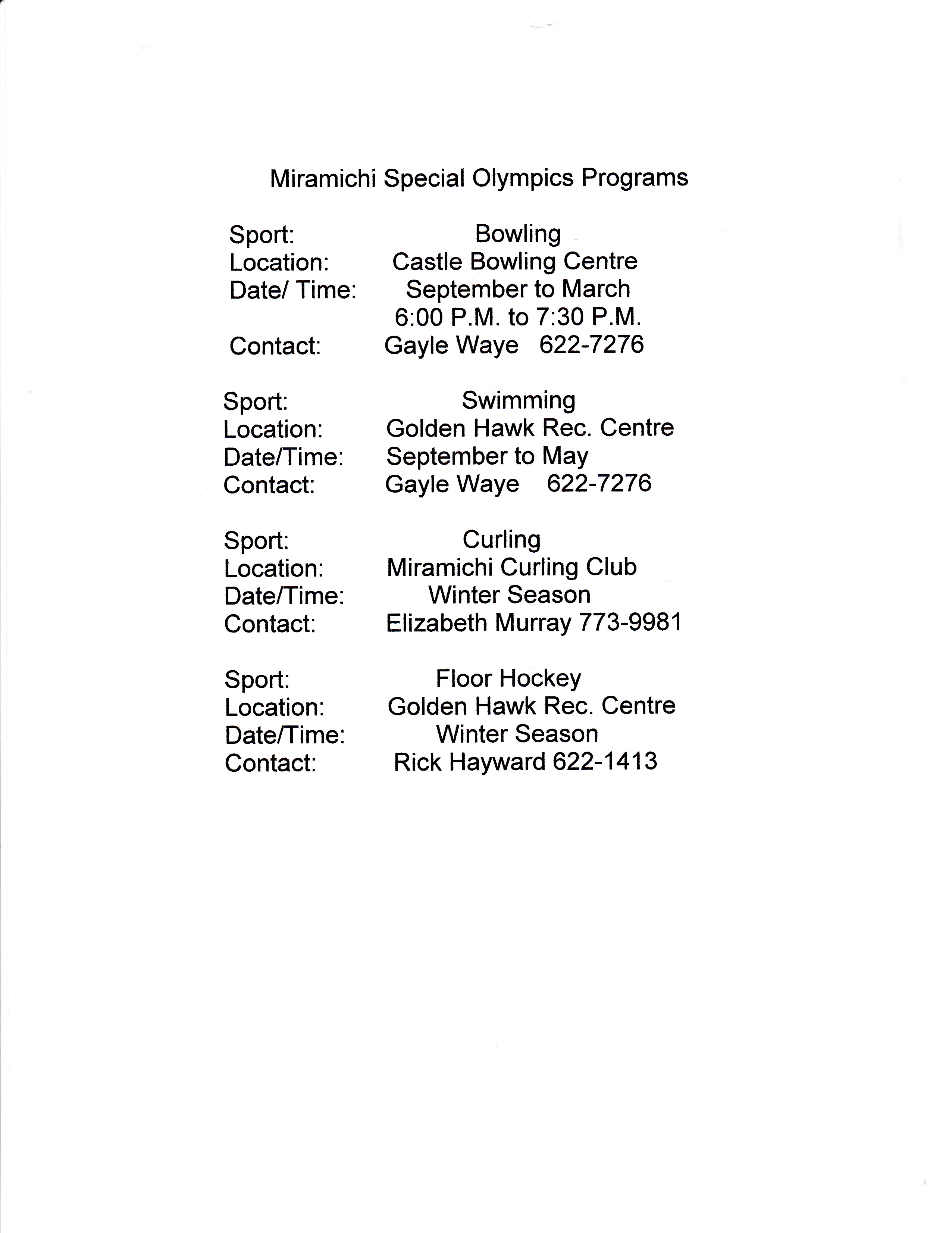 schedules — special olympics nb