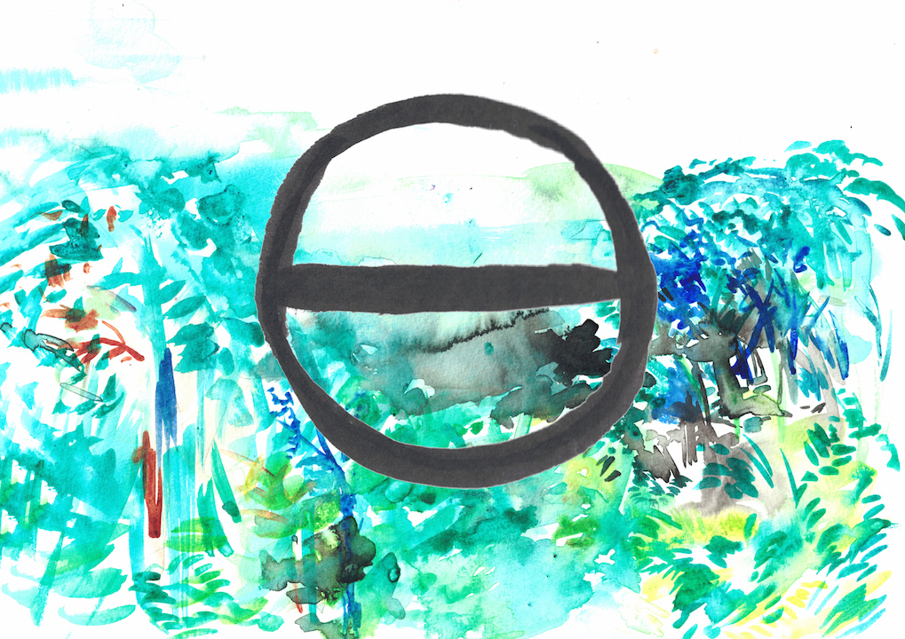 watercolour of jungle with bisected circle on top