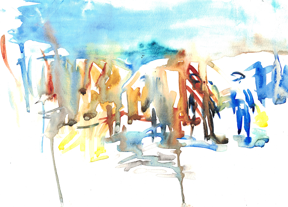 watercolour with abstract figures