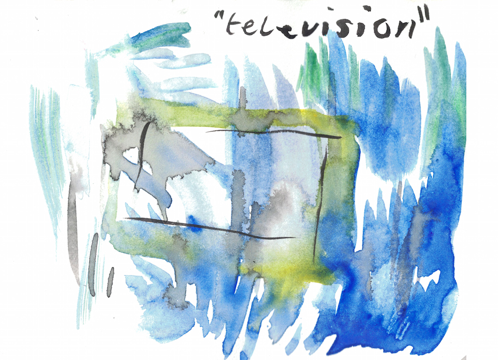 blue watercolour with black square and word television