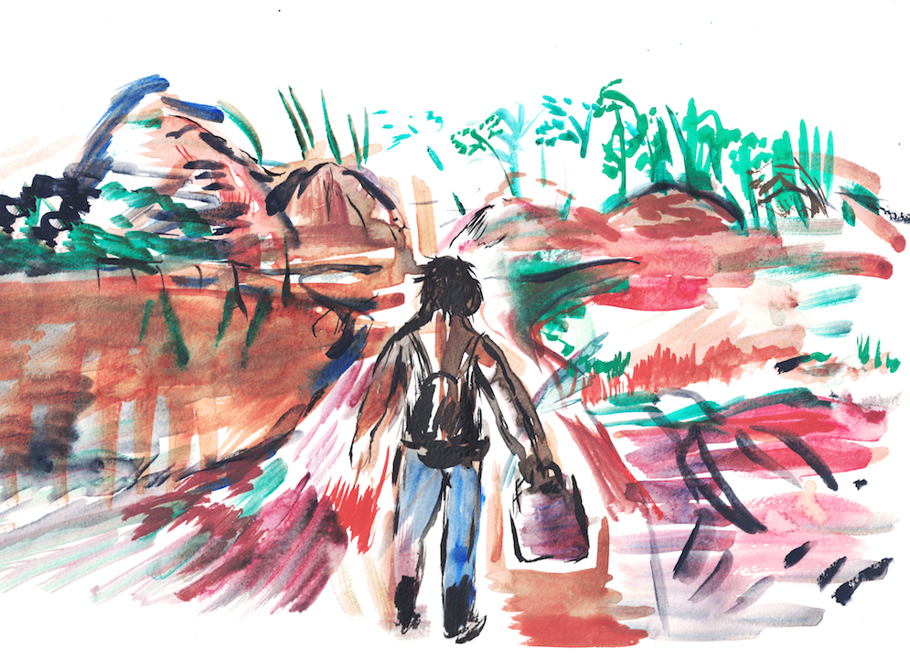 watercolour of figure walking in red landscape