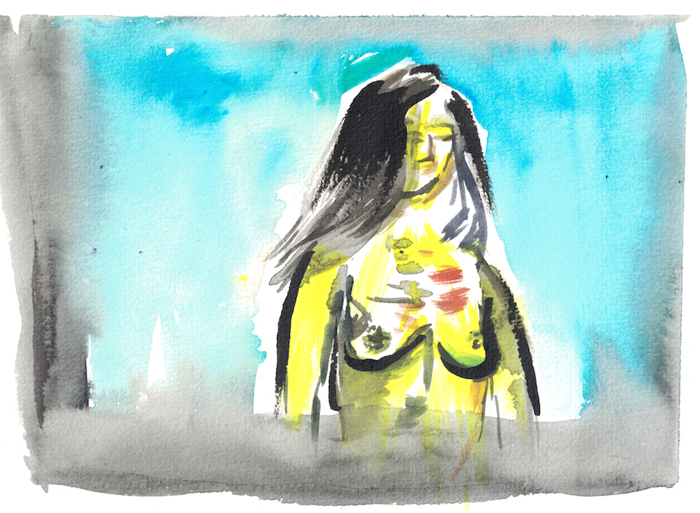 watercolour of woman with injured bare chest