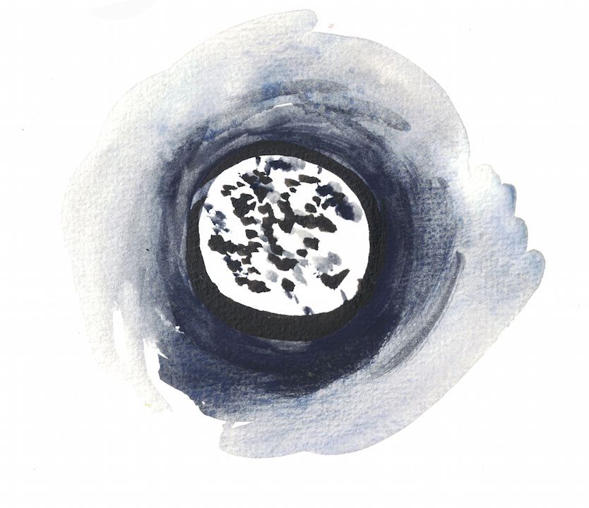 watercolour of a full moon
