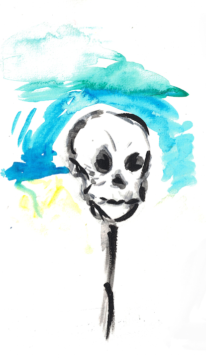 watercolour of skull on a stick