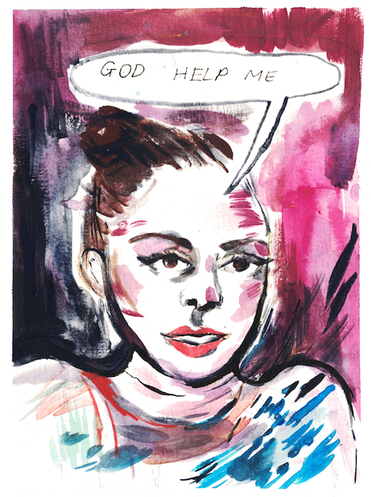 watercolour of woman saying god help me