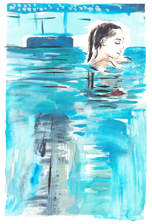 watercolour of woman in pool