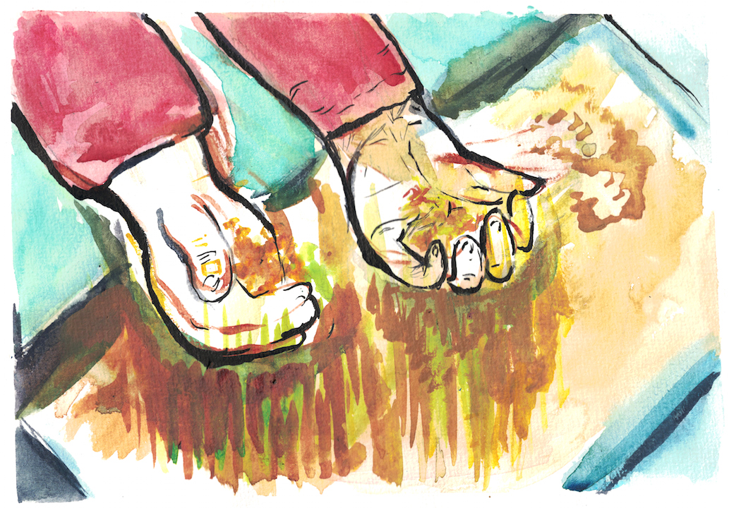 watercolour of hands with sand slipping through fingers