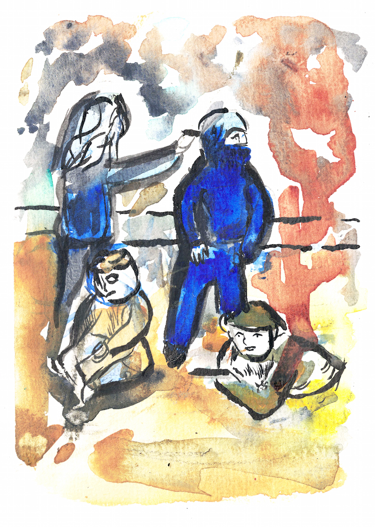watercolour of four figures, two standing in blue, one holding an object to the others head, their faces obscured, two sitting in brown below them