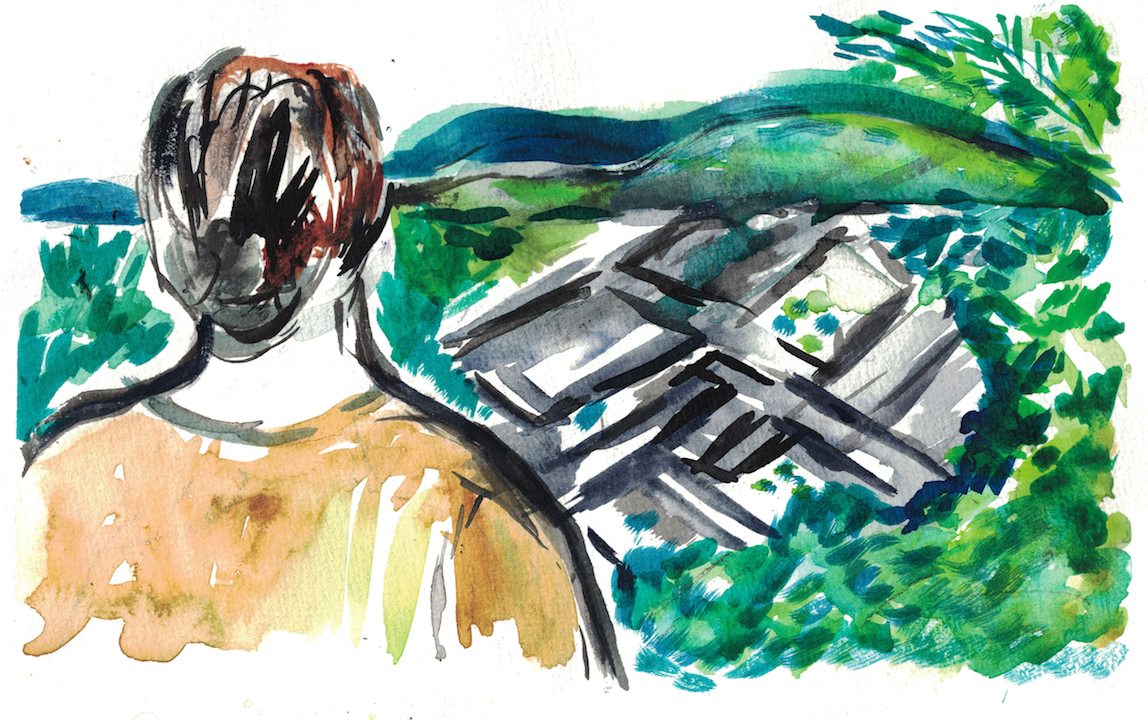 watercolour of person looking out at grey mountains and green hills in distance
