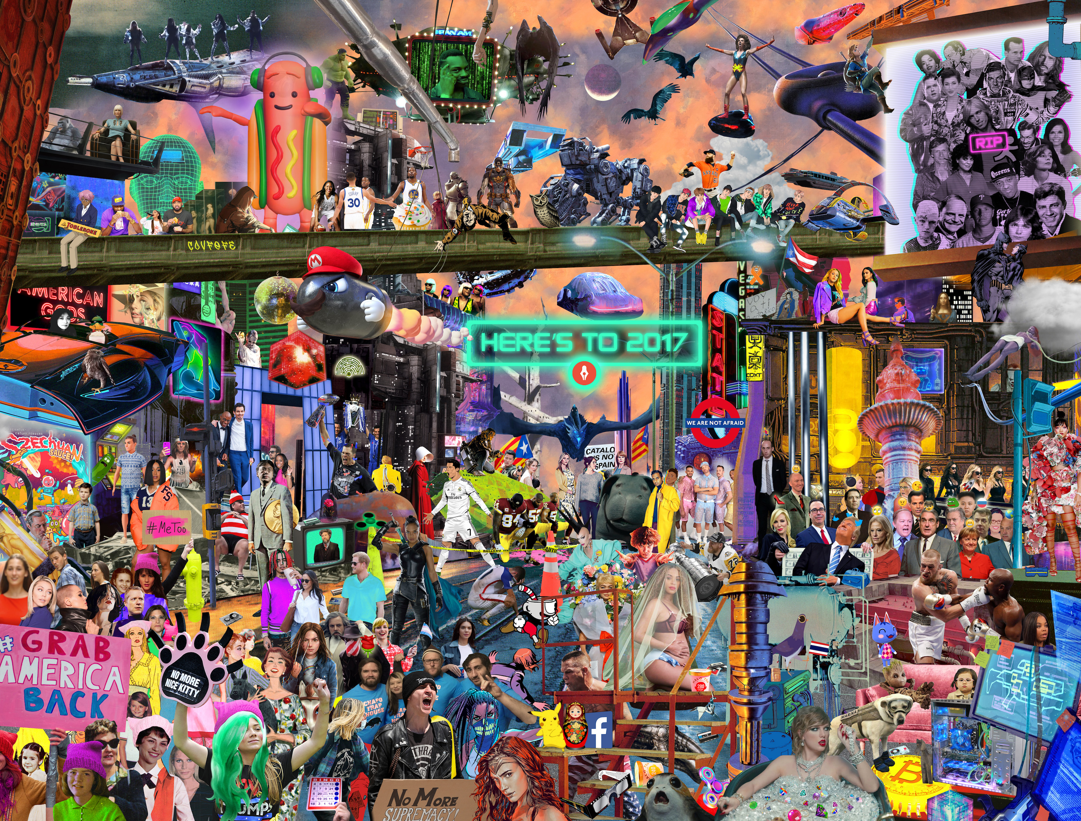 Here 39 s to 2017 a mashup art print of memorable pop for Craft fair nyc 2017