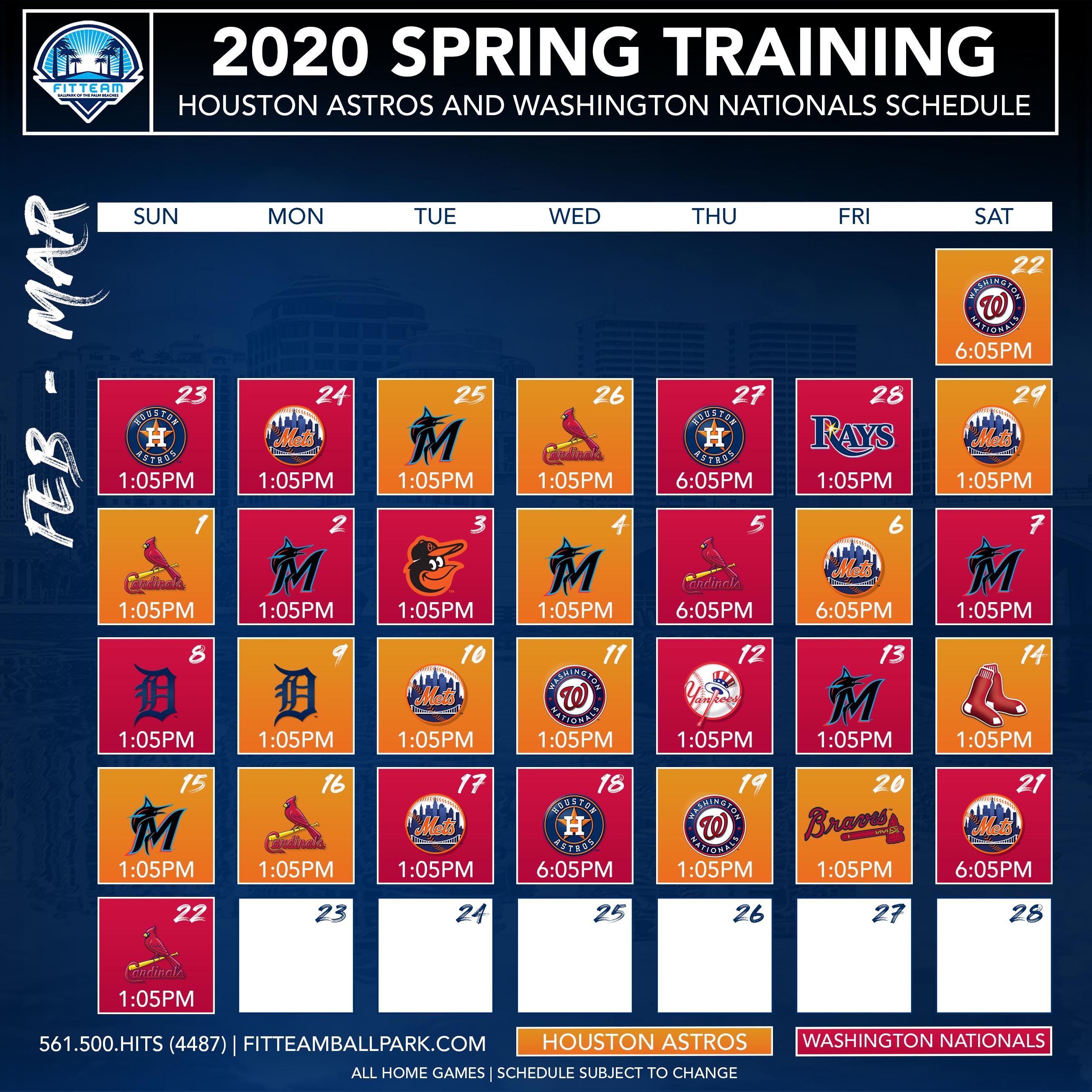 2020 Spring Training.Astros Spring Training Schedule 2020 Schedule 2020