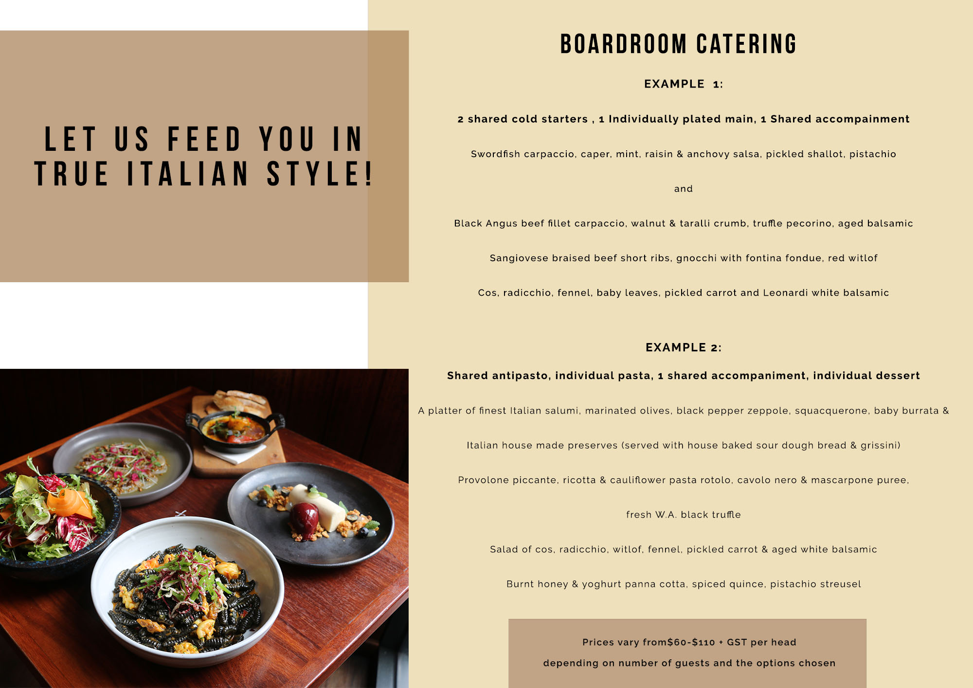 sample catering menu