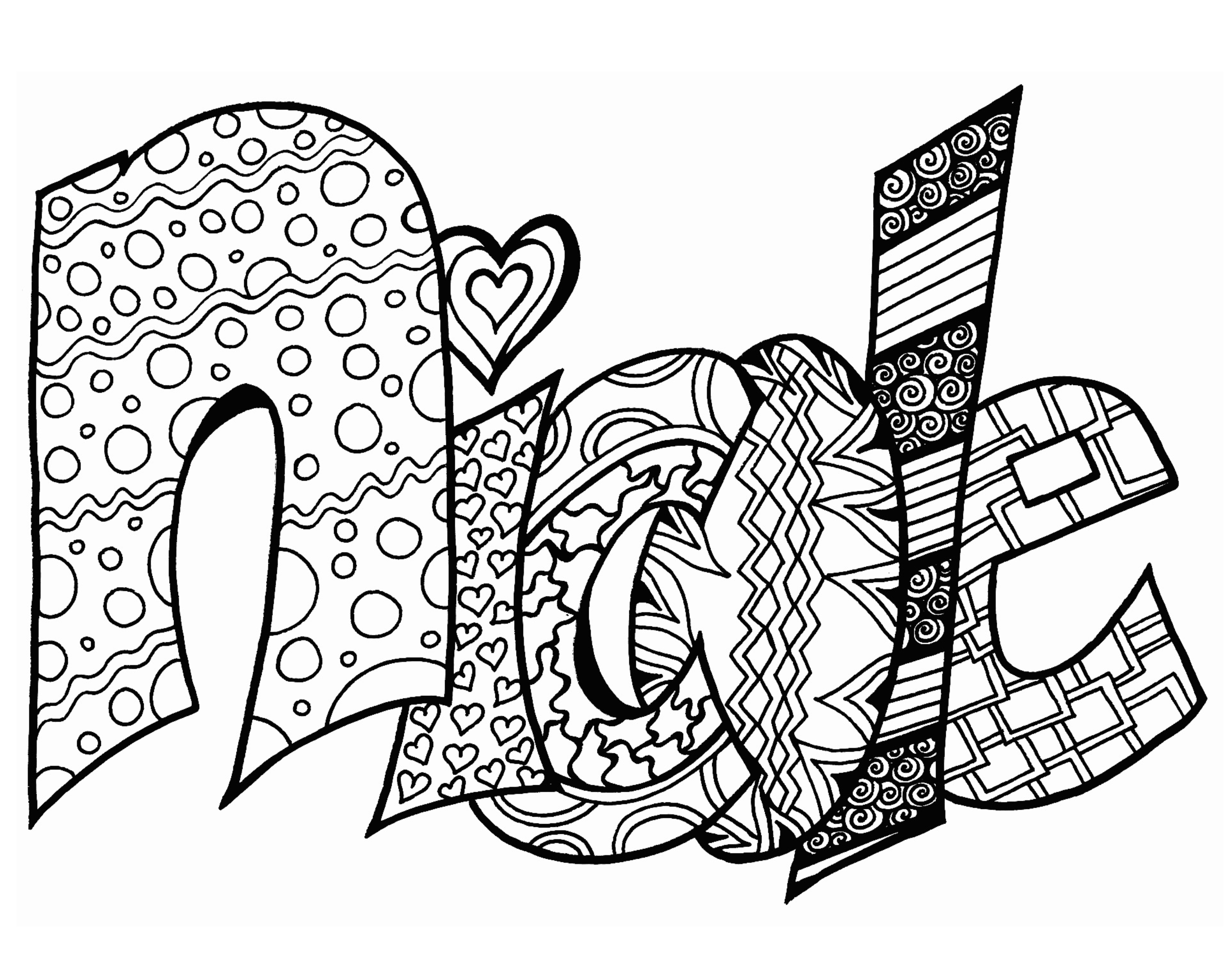 Graffiti names nicole coloring pages coloring pages for Names coloring pages