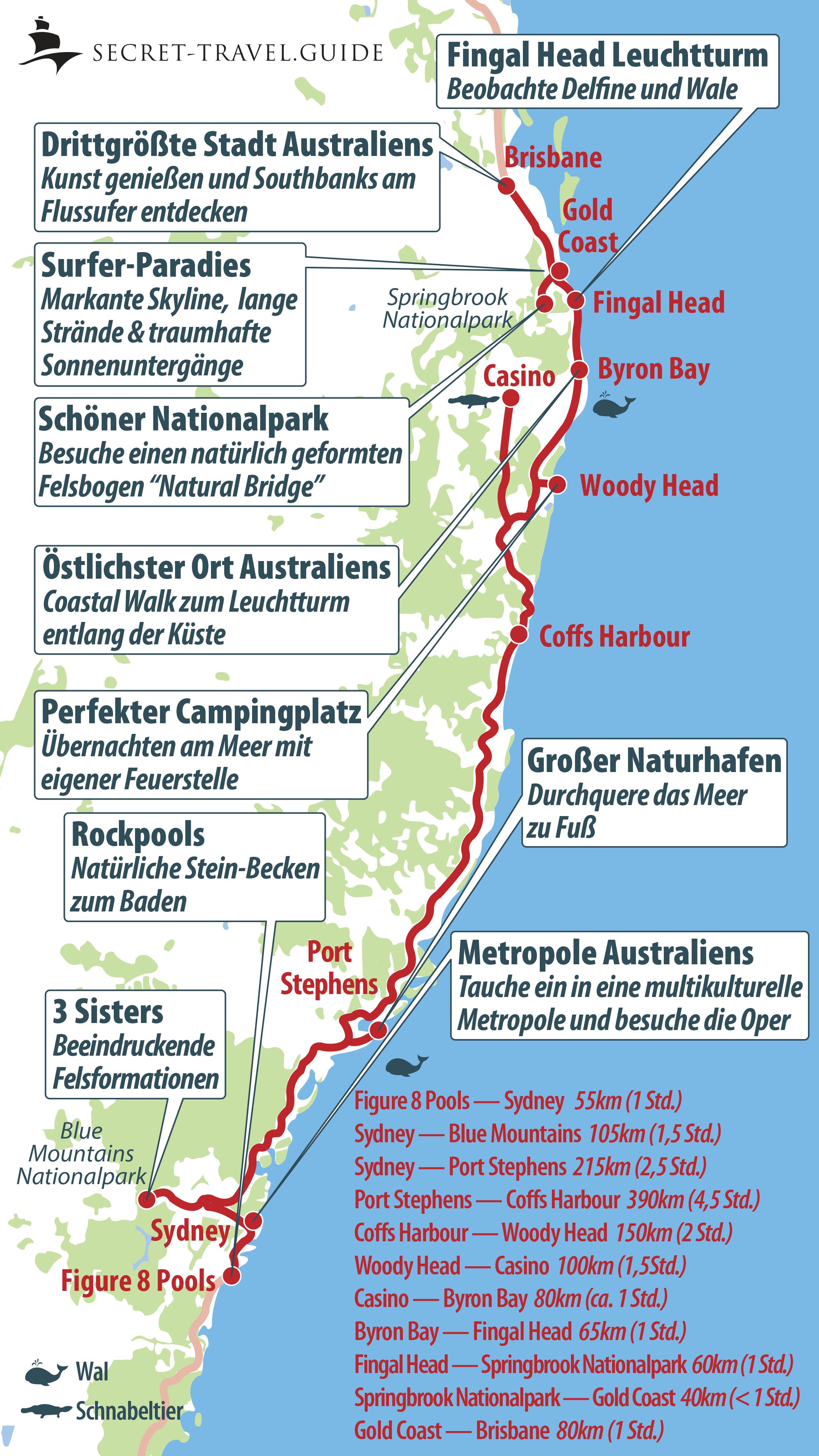 Karte Australien Und Umgebung.Australiens Ostküste Von Sydney Nach Brisbane Secret Travel Guide