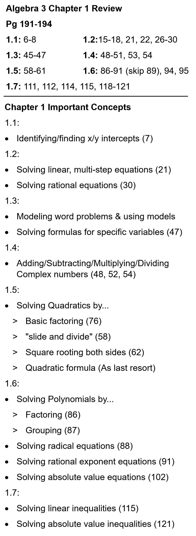 Algebra 3 Mr Deibels Class – Algebra Review Worksheet
