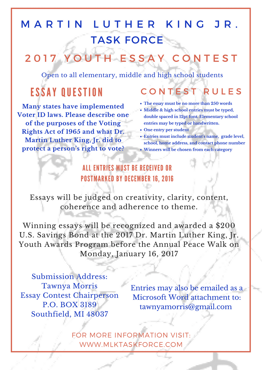 essay on martin luther dr martin luther king jr task force inc  dr martin luther king jr task force inc the flyer for our 2017 youth essay contest