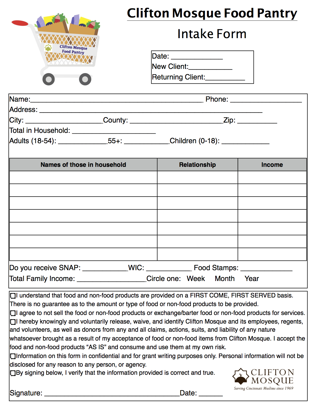 intake Virginia Food Pantry Application Form on food stamps application, food bank form, head start application, adoption application, summer camp application,