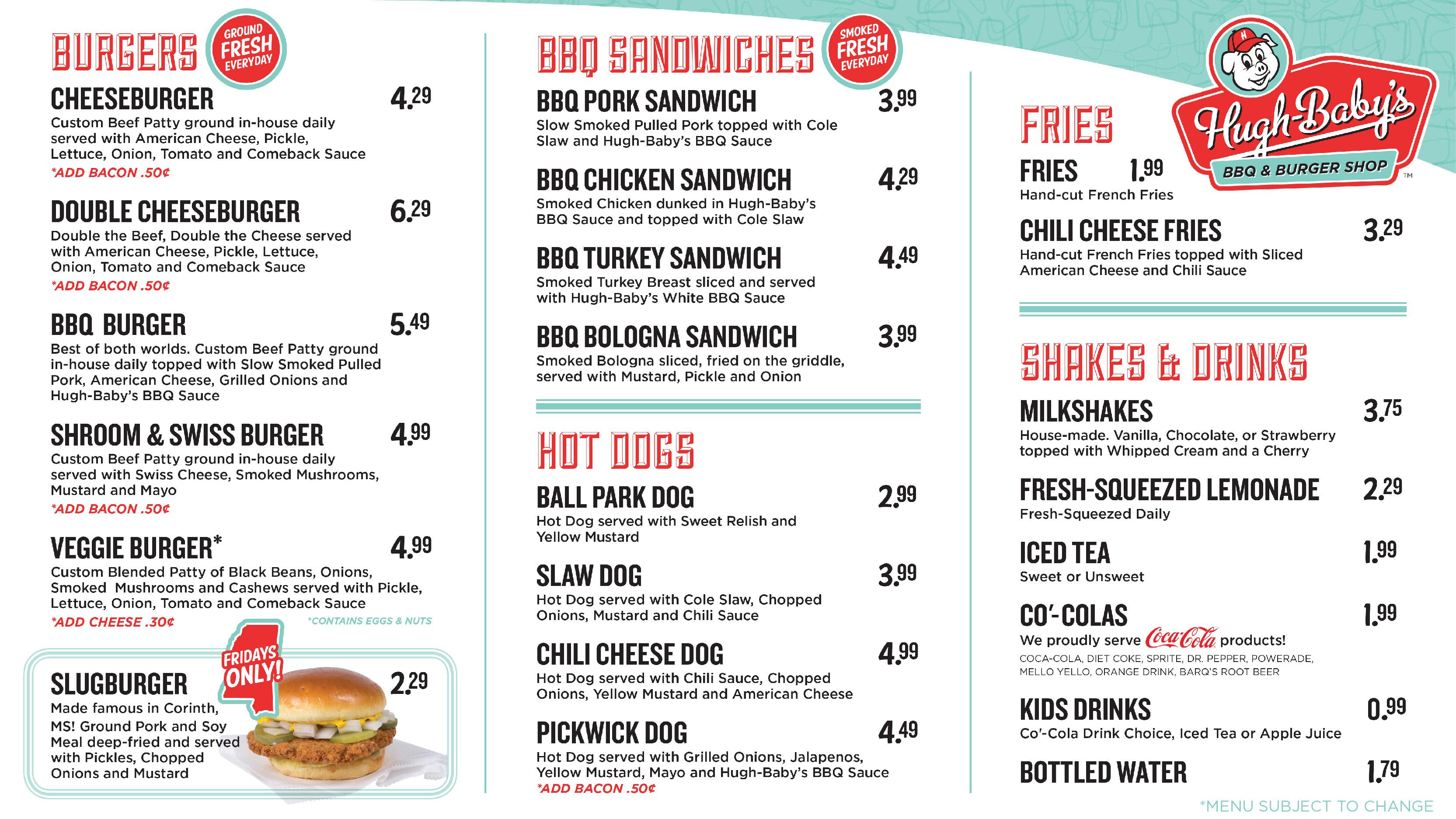 view our menu hugh baby s bbq burger shop nashville tn hugh
