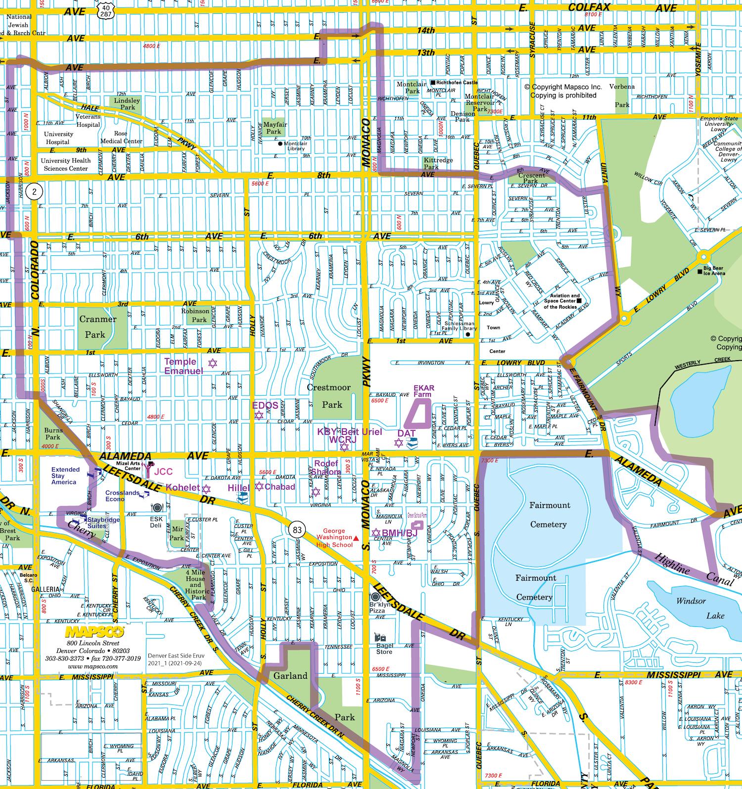 Eruv Map — The East Denver Eruv Denver S Map on