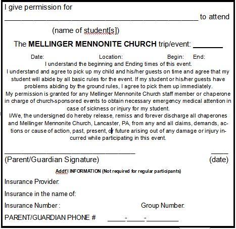 generic permission slip