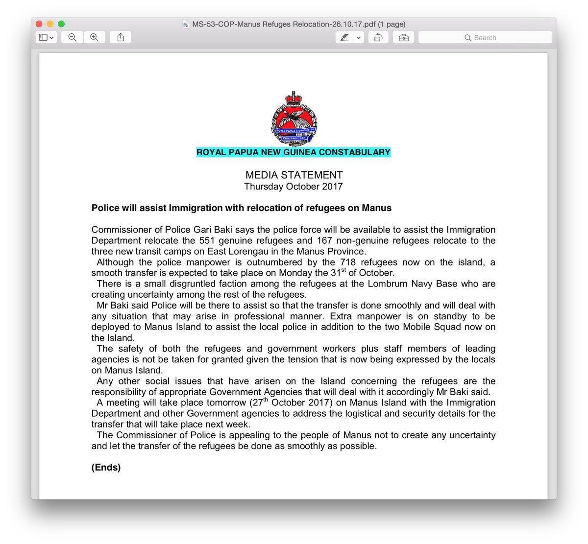 [2] PNG Constabulary Media Release October 2017