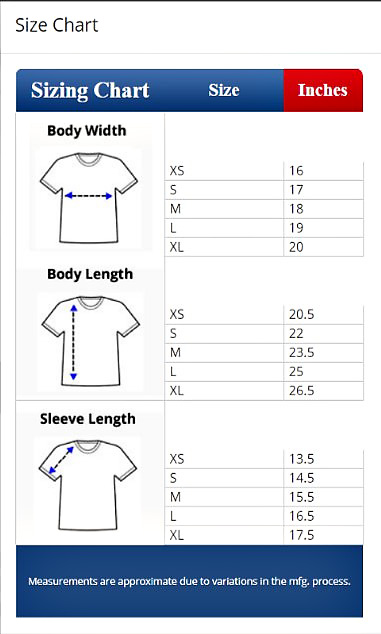 Youth T Shirt Royal Blue 15 00 Size Chart