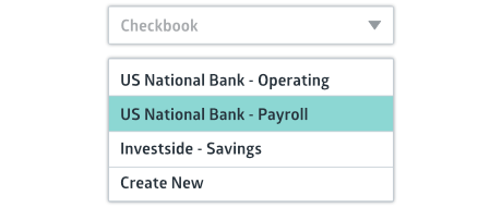 Crunched checkbook drop down with multiple checkbook options