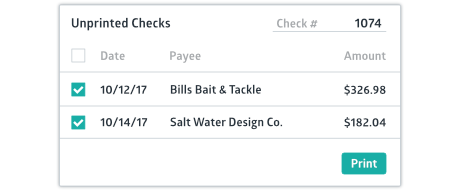 Crunched unprinted checks window with multiple checks selected to be printed