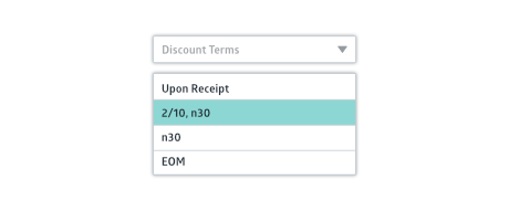 Crunched payment discount terms dropdown selector