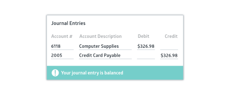 Balanced journal entry input screen with success status bar