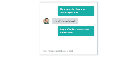 Crunched support live chat window with chat bubbles