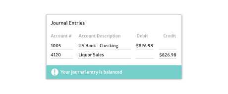 Journal entry input screen with success status bar
