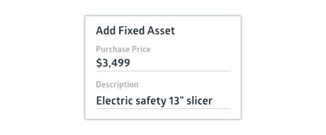 Crunched fixed asset input window with purchase price and description