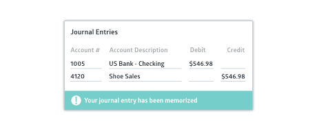 Crunched journal entry input screen with success status bar
