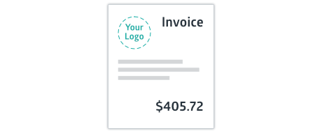 Crunched invoice with custom logo upload