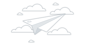 404 error graphic of paper airplane flying through clouds