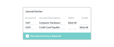 Journal entry creation window with a debit and credit line and a success notification bar