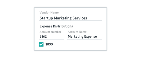 Vendor creation window with name, expense distribution account and 1099 checkbox selected