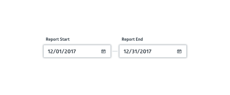 Report date range with selectors for report start to report end