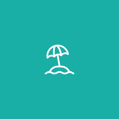 Umbrella icon in teal square
