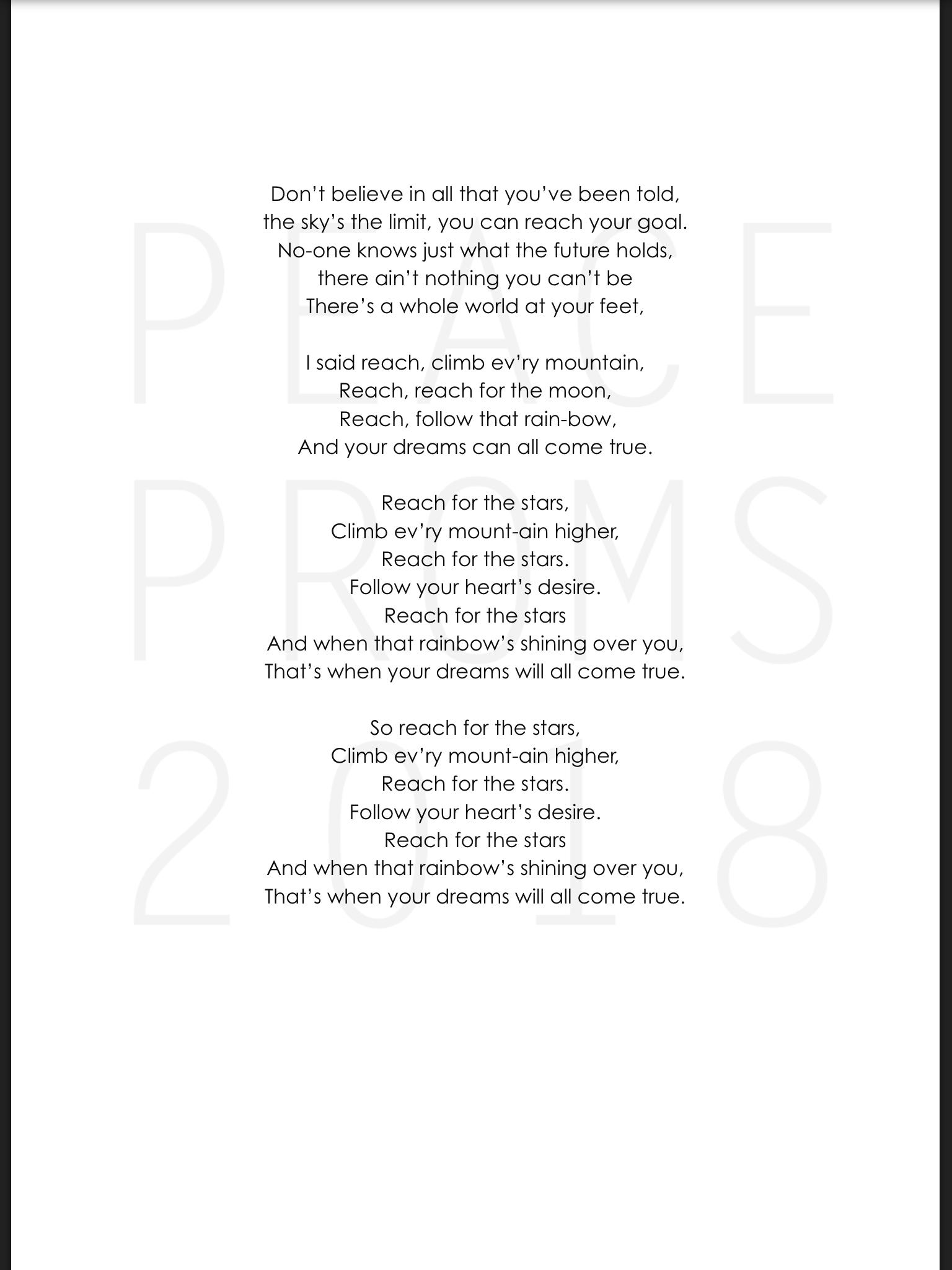Peace proms cetns reach lyrics part 2 stopboris Gallery