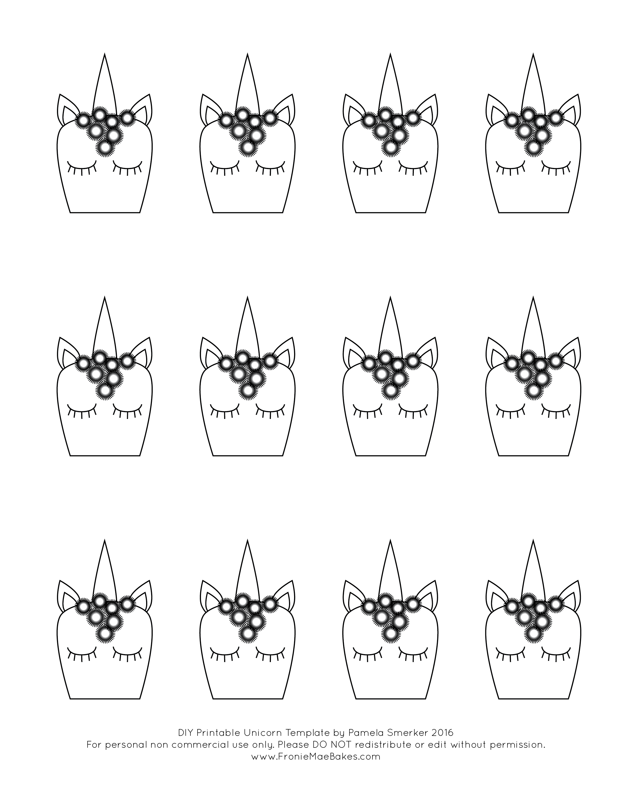 image regarding Free Printable Unicorn Template identify Whimsical Royal Icing Unicorn Cupcake Toppers with Cost-free