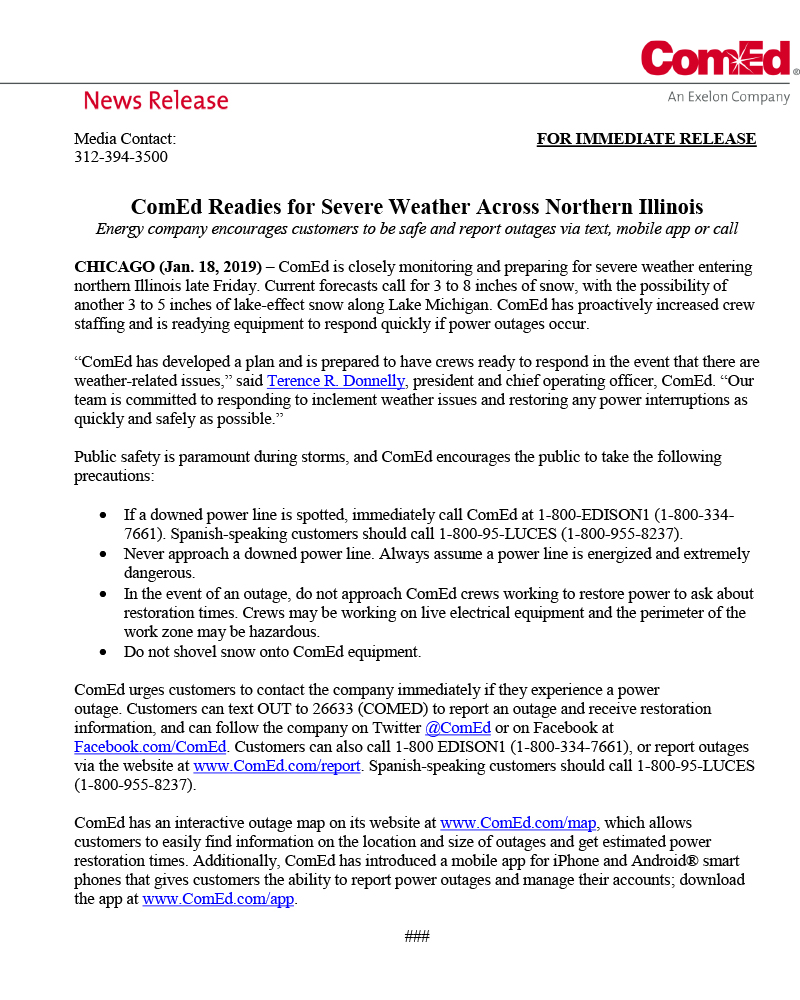 News Release From Comed About Severe Weather Building A Better 7th
