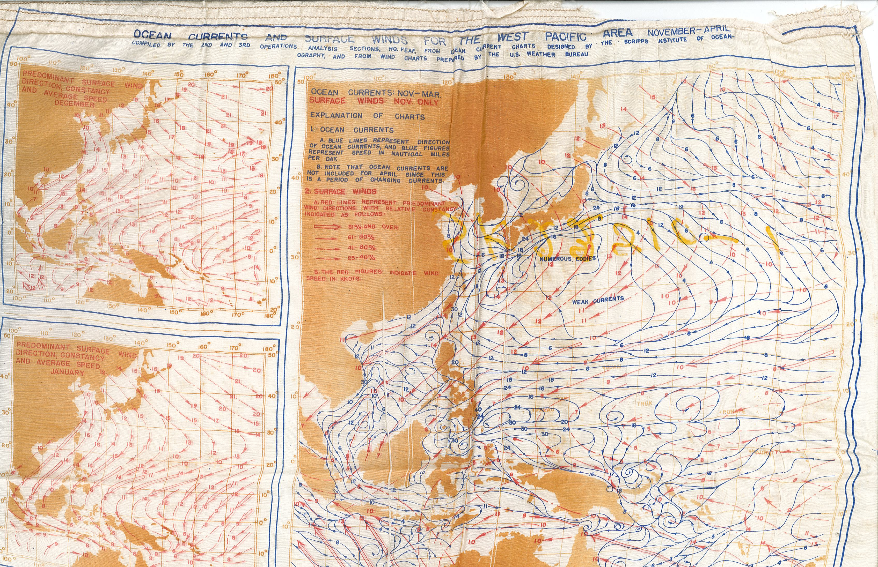 Silk Wind And Current Map 1944 Picturing Meteorology