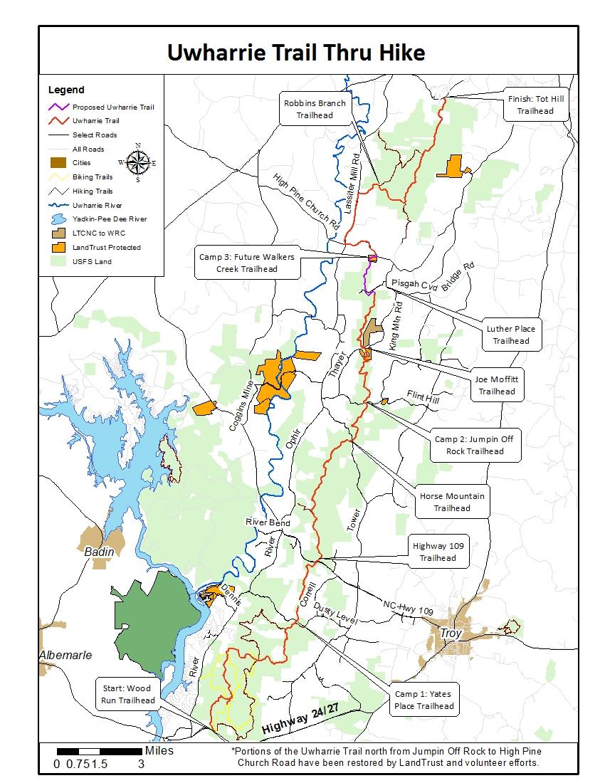 UT Thru Hike Map — Uwharrie Trailblazers High Bridge Trail Map on