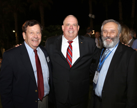 Maryland Governor Larry Hogan (center) joins Brimrose Technology's Dave Trudil (left) and File X's Alex Furlinder (right) at a reception in Israel.